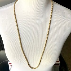 GOLD AND WHITE ROPE TWISTED LONG NECKLACE